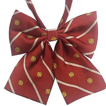 AINOW スクールリボン 女子 制服リボン 学生服 リボン 紺色 中学生 高校生 (エンジ無地) (赤い)