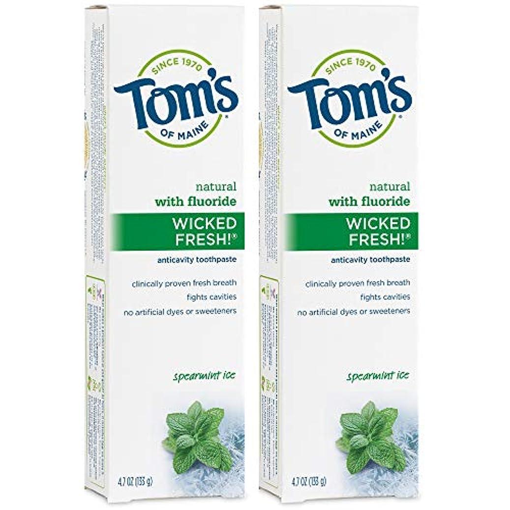 関税しっかりジャケットTom's of Maine Wicked Fresh Long Lasting Fresh Breath Fluoride Toothpaste, Spearmint Ice, 4.7-Ounce by Tom's of Maine