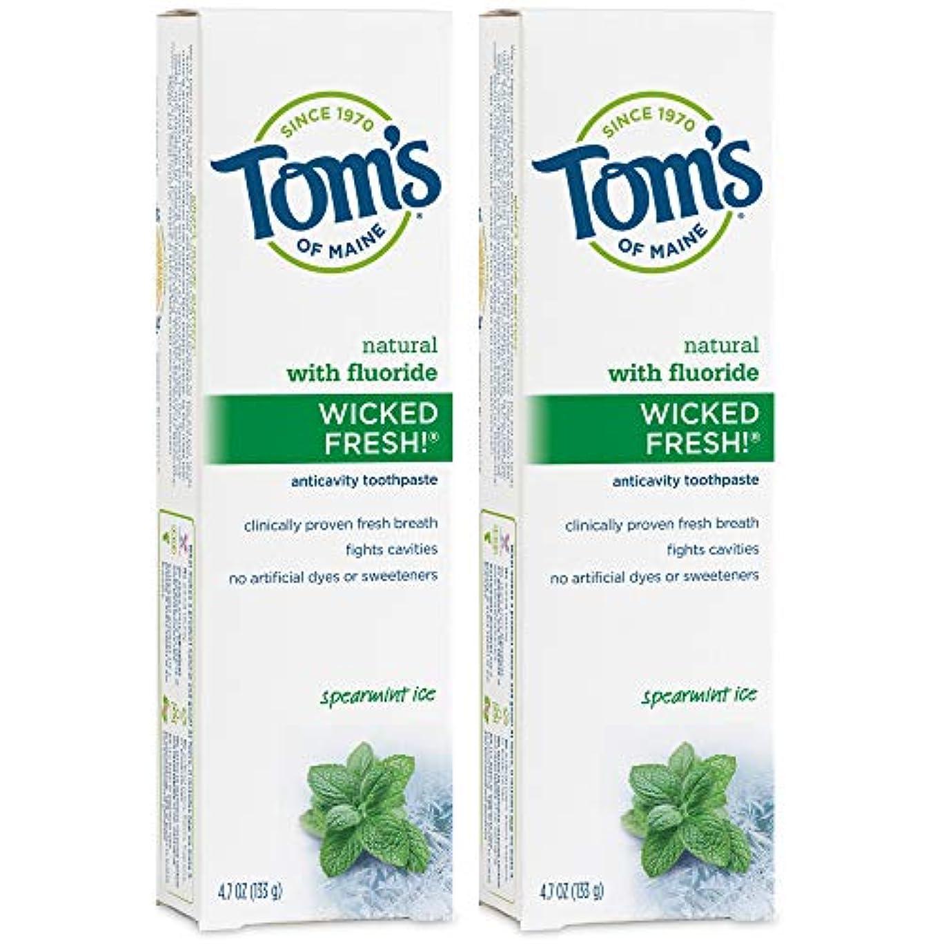 気まぐれな墓パーティションTom's of Maine Wicked Fresh Long Lasting Fresh Breath Fluoride Toothpaste, Spearmint Ice, 4.7-Ounce by Tom's of...