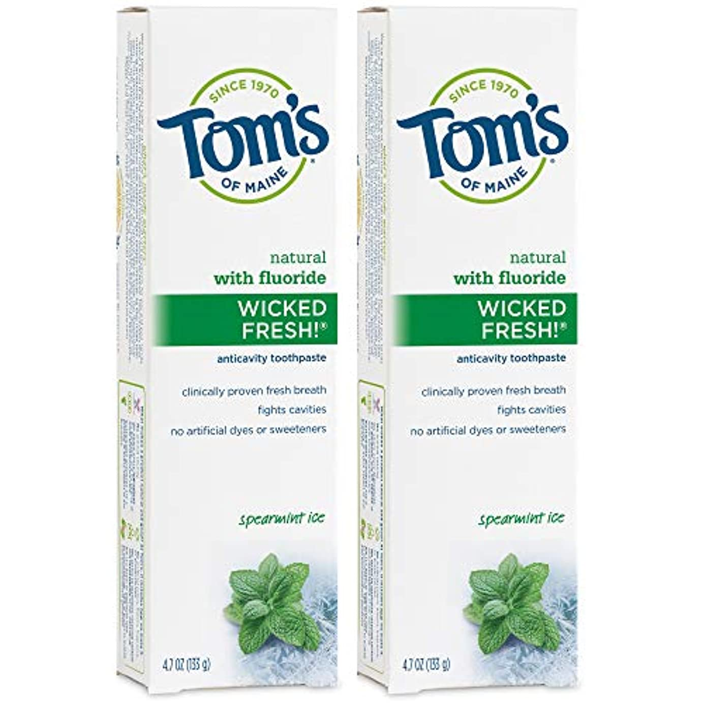 明るい葉巻観客Tom's of Maine Wicked Fresh Long Lasting Fresh Breath Fluoride Toothpaste, Spearmint Ice, 4.7-Ounce by Tom's of...