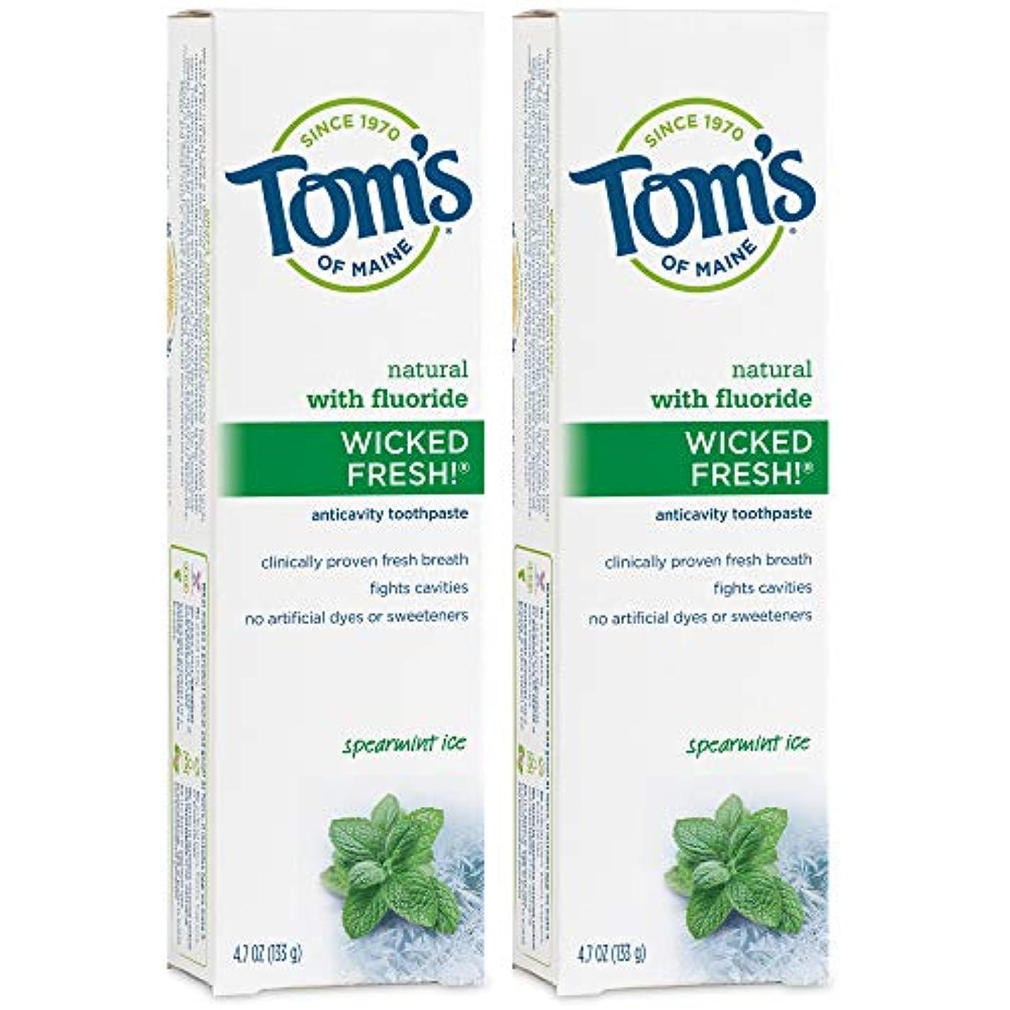 魔法かすかな合理化Tom's of Maine Wicked Fresh Long Lasting Fresh Breath Fluoride Toothpaste, Spearmint Ice, 4.7-Ounce by Tom's of...