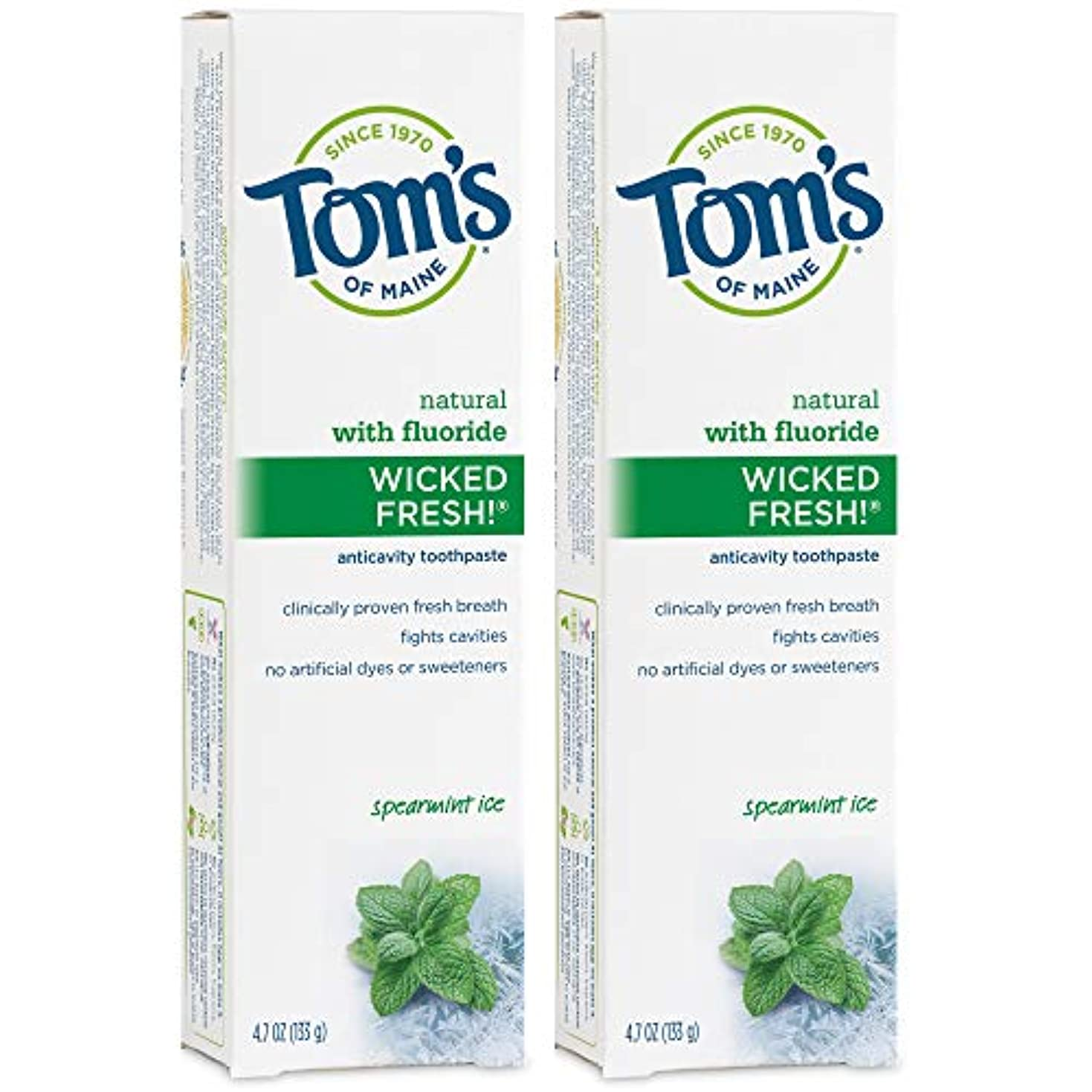努力する報いるベースTom's of Maine Wicked Fresh Long Lasting Fresh Breath Fluoride Toothpaste, Spearmint Ice, 4.7-Ounce by Tom's of...