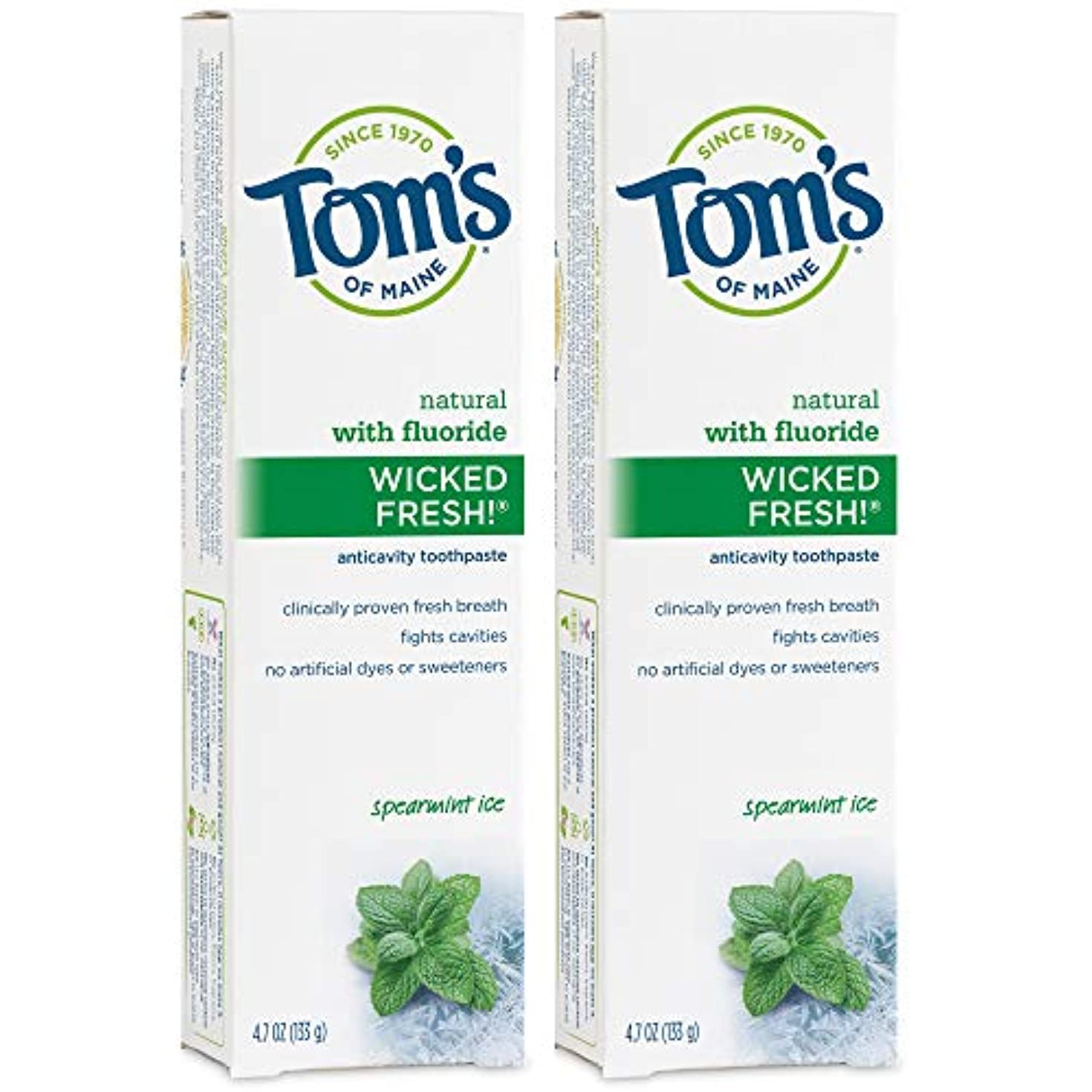 放課後フロント動員するTom's of Maine Wicked Fresh Long Lasting Fresh Breath Fluoride Toothpaste, Spearmint Ice, 4.7-Ounce by Tom's of...