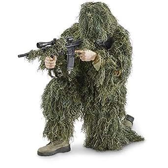 OneTigris ギリースーツ ウッドランド迷彩 4点セット サバゲー用・イベント用仮装 野外戦闘スーツ スナイパー&アンブシュへ迷彩戦闘服 収納袋付き ジャングル迷彩