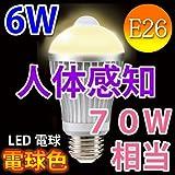 人感センサー付きLED電球 70w相当/消費電力6W  E26口金/電球色【送料無料】 [SDQ-6W-Y]