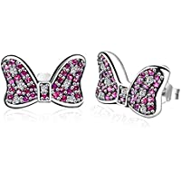 Twenty Plus Disney Earrings Minnie's Sparkling Bow Stud Earrings with Pink & Clear CZ
