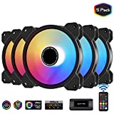 EZDIY-FAB 120mm ARGB Case Fan,Motherboard Aura Sync Fan, High Airflow, Addressable RGB Fan for PC Case with 10-Port Fan Hub X and Remote-5 Pack