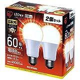 アイリスオーヤマ LED電球 口金直径26mm 60W形相当 電球色 広配光タイプ 2個セット...