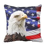 クッションカバー 45×45cm ファスナー式 おしゃれ インテリア ソファー オフィス アメリカのワシおよび旗