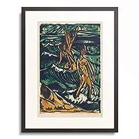 エルンスト・ルートヴィヒ・キルヒナー Ernst Ludwig Kirchner 「Three women bathing in the waves. 1913.」 額装アート作品