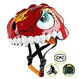 Basecamp(ベースキャンプ)子供用ヘルメット供自転車ヘルメット超軽量 CPSC認定された自転車ヘルメット 子供ロードバイクヘルメット可愛い恐竜型 45~56cm サイズ調整可能なバイクヘルメット スケートボードなど適用 スポーツヘルメット