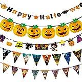Ba-style(バスタイル) ハロウィン 飾り フラグ横断幕DIY道具蝙蝠髑髏カボチャ学園祭パーティー集会 お店飾り5個セット