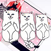 【iPhone SE/5/6s/6s Plus/7/7Plus,Galaxy A8】カートーン キャット猫 ソフトケース (iPhone SE/5s/5, ブラック)