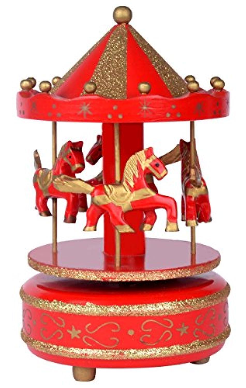 カルーセル馬音楽ボックス木製4回転。赤とゴールドカラーPlaying「ジングルベル」