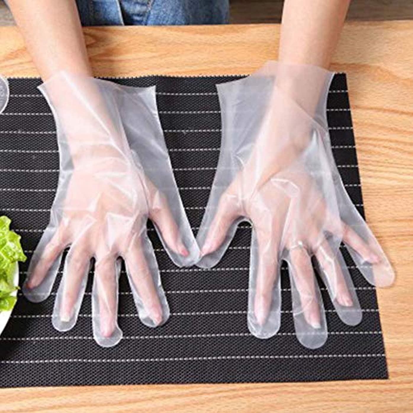 バスルームテレビを見る吸い込む使い捨て手袋 世帯 食べ物 ケータリングキッチン 厚くする プラスチック透明 グローブ 個別にパッケージ化されたCPE 100 /箱