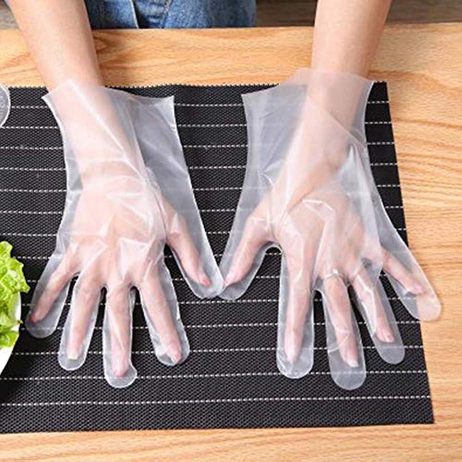 水っぽい二度フェッチ使い捨て手袋 世帯 食べ物 ケータリングキッチン 厚くする プラスチック透明 グローブ 個別にパッケージ化されたCPE 100 /箱