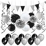 パーティー 飾り セット シルバー ブラック ホワイト 黒 銀 装飾 ティッシュ ペーパーポンポン ペーパーランタン ペナント バナー 誕生日 退職 卒業 装飾 渦巻き 49枚セット