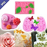 Comidox Butterfly&Rose Leaves&Rose Flower Silicone Fondant Mould Cake Chocolate Mold Sugar Craft Modelling Decorating Tools 3Pcs