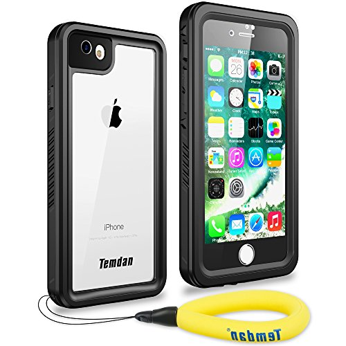 Temdan iPhone 7 iphone 8 防水ケース IP68防水規格 完全防水 防雪 防塵 薄型 耐衝撃 長持ち ランニング用 アイフォン7ケース 指紋認識可 キックスタンド フローティングストラップ 軽便のアイフォンケース7 4.7インチ用(黒色&透明)
