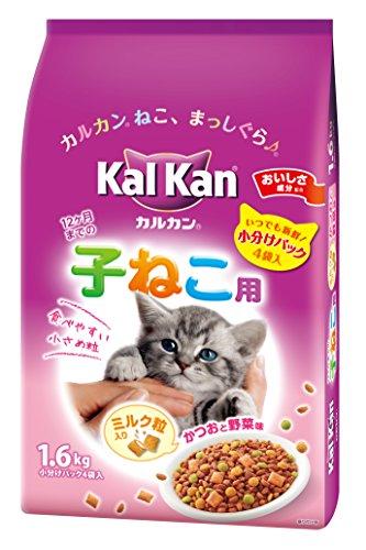 カルカンドライ 12か月までの子ねこ用 かつおと野菜味ミルク粒入り 袋1.6kg