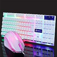 2019新しい英語有線LEDライトキーボードと光学式マウスコンボブラック/ホワイト104キーWindows用アンドロイドIOSゲーマー用 (Color : White)