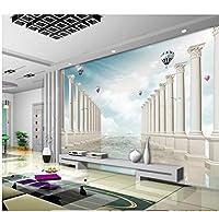 Wuyyii 3Dの壁紙の注文の壁画の非編まれた壁のステッカーの海の帆の熱気球のカモメ3Dの写真の壁の壁画の壁紙