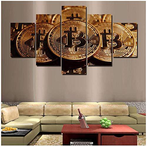 アートキャンバスポスタープリント壁用リビングルーム5ピース/個ビットコイン絵画HDホームデコレーションモジュラー写真/ 40x60 40x80 40x100cm-フレームなし