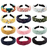 CAVETEE 12 Pack Knotted Headbands for Women Adult Headbands for Women Twisted Headbands for Women Womens Headbands Fashion Fabric Headbands for Women Hair Hoop