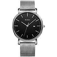 BUREI Unisex Stylish Dress Quartz Watches with Elegant Dial Date Mineral Crystal Milanese Band