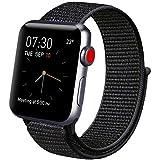 Vancle コンパチブル Apple Watch バンド 38mm 40mm 42mm 44mm ナイロンスポーツループバンド iWatch Series4/3/2/1に対応 (38mm/40mm, ブラック)
