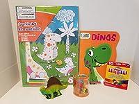 """Dinosaur Play Time Coloringバンドル。100%再生紙のこのカラーブック。ジャンボカラーブック&ジャンボクレヨンalong withカラーリングポスター& 4マーカーand 1( 0ne ) 4.5"""" Dinosaur (プラスチック)"""
