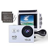 YELIN 1080P Full HD 2.0 inch LCD Screen Waterproof Sports Action Camera Cam DV 5MP DVR Helmet Camera Sports DV Camcorder+Extra 1 Batteries [並行輸入品]