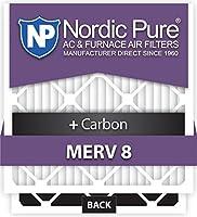 Nordic Pure 12x 18x 1m8+ C - 12MERV 8PlusカーボンAC炉エアフィルタ, Qty 12