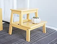 木製ソリッド2ステップスツールウッドスツールベンチシューズバスルームスツール (色 : イエロー いえろ゜, サイズ さいず : L l)