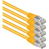 1aTTack.de®0.25m - 黄色 - 5段 - CAT6 CAT 6イーサネットLANネットワークケーブルSET 1000 Mbit/s CAT6二重シールドPIMF 250MHzハロゲンフリーCAT5eと互換性CAT6a CAT7 CAT8