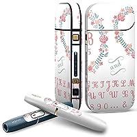 IQOS 2.4 plus 専用スキンシール COMPLETE アイコス 全面セット サイド ボタン デコ フラワー 花 フラワー パステル ピンク アルファベット 008206