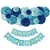 誕生日 飾り付け バルーン セット 男の子 バースデー パーティー 飾り HAPPY BIRTHDAY ガーランド デコレーション 特大 ペーパーファン ハニカムボール ギフト キット
