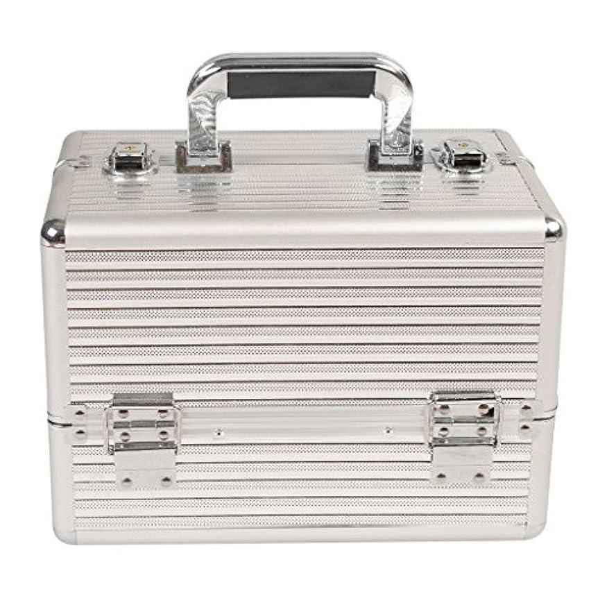 トランペットスコア思春期の[プロ仕様]Hapilife メイクボックス 大容量 4つトレイ 幅30cm 中型 ネイル アクセサリー 化粧品 メイク道具 収納ボックス シルバー