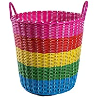 プラスチックハンパー服収納バスケット衣類バスケットバスケットバスルームおもちゃボックス洗濯バスケットバレル (色 : D, サイズ さいず : 36 * 28 * 34cm)