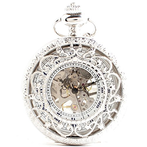 [해외][모노지] MONOZY 기계식 태엽 회중 시계 앤티크 풍의 뚜껑 양면 해골 가죽 끈 목걸이 펜던트 시계 pwsv-a/[Monosie] MONOZY Mechanical hand winding pocket watch Antique style with lid Double sided skeleton Necklace with leather strap Penda...