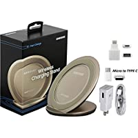 Samsung Qi Fast Wireless Charging Gold Stand -W/Google USB C & Micro to C Adapter -For iPhone X/8/8+/S7/S6/S8/+/Edge/Note/5/8 (US Retail Packing) [並行輸入品]