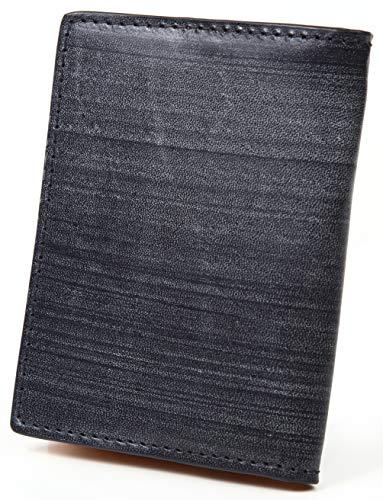 【ポルトラーノ】portolano ブライドルレザー 小銭入れ BOX型 イタリア革 カード収納 ボタン式 (ネイビー)