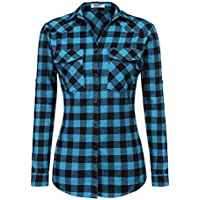 Zeagoo Women's Roll Up Sleeve Flannel Plaid Shirt Boyfriend Button Down Checkered Cotton Shirt(S-XXXL)