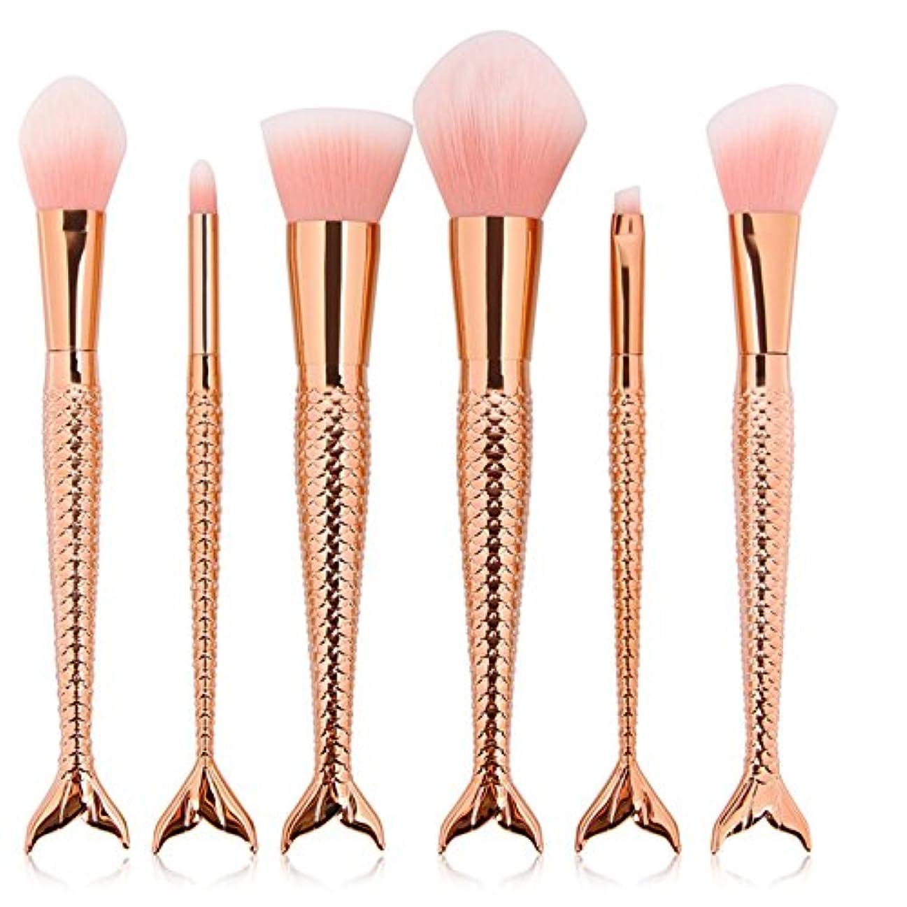 活性化する有効ほこりっぽいVander 敏感肌適用 メイクブラシ マーメイドブラシ 化粧筆 人造繊維 化粧ブラシセット 高級 アイシャドウブラシ チーク フェイスブラシ 6本 (ローズゴールド)