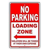 """No Parkingロードゾーン左矢印違反者は犠牲に独自Towed restriction Caution警告Noticeアルミニウムメタルサインプレート 8""""x12"""""""