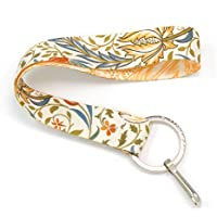 Buttonsmith Morris Flora Wristlet Key Chain Lanyard - Short Length with Flat Key Ring and Clip - Made in The USA