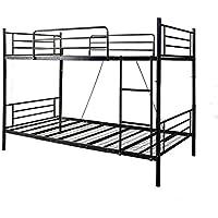 OSJ 大人用可2段ベッド 子供部屋二段ベッド耐荷100KG 耐震 金属製 業務用二段ベッド コンパクト 社員寮 学生寮 3色 (ブラック)