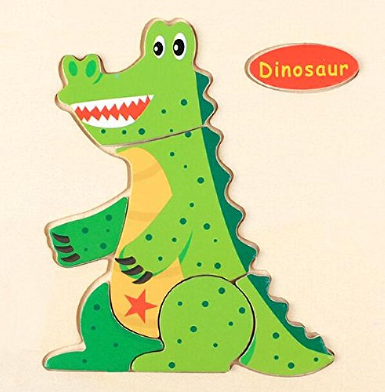 HuaQingPiJu-JP 子供のための素敵な木製のプリスクール恐竜認知ボード教育パズル