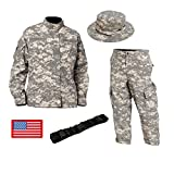 【FBFALCON】 ACU迷彩 サバゲー 迷彩服 上下 ブーニーハット ベルト 国旗ワッペン 4点セット アメリカ陸軍になれます! XS~XXL (XL)