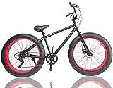 ファットバイク FAT BIKE 26インチ 7段変速ギア付き 自転車 (ブラック/レッド)